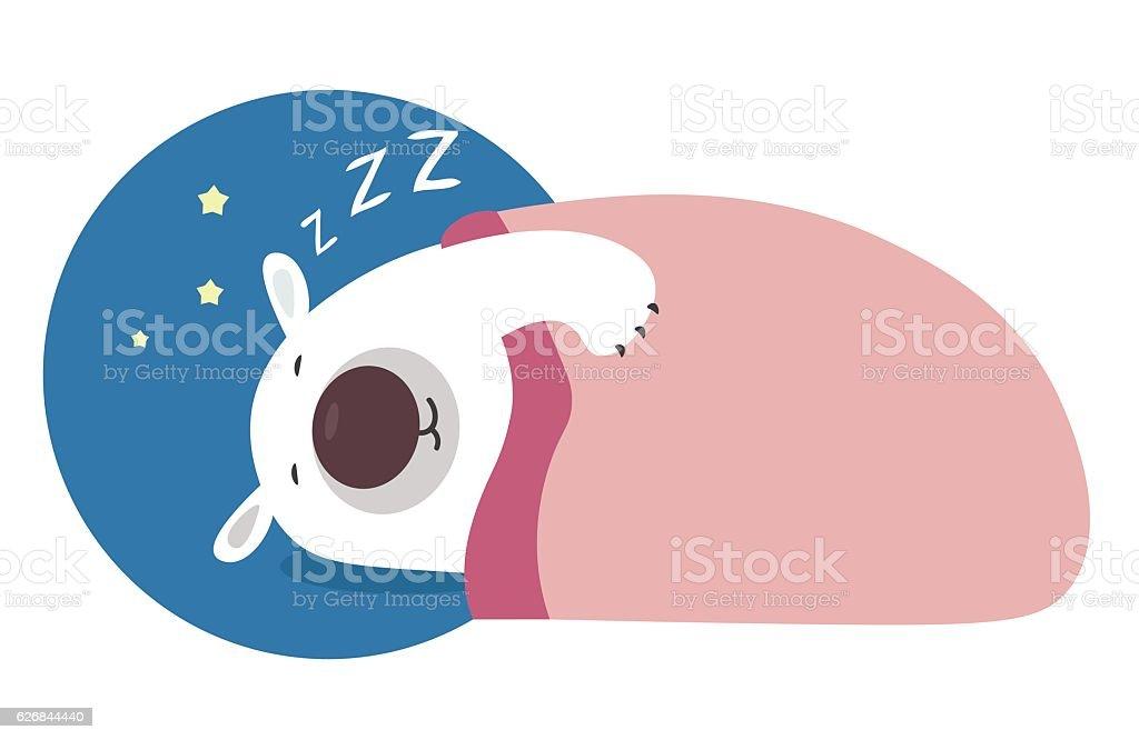 Polar bear fast asleep, covered with a blanket. vector art illustration