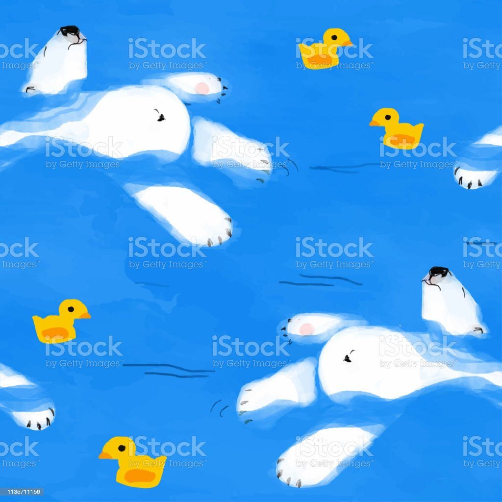 polar bear floats on water with a rubber duck seamless pattern vector art illustration