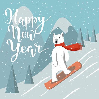 Polar bear glides on snow on the board against mountains. Vector illustration.