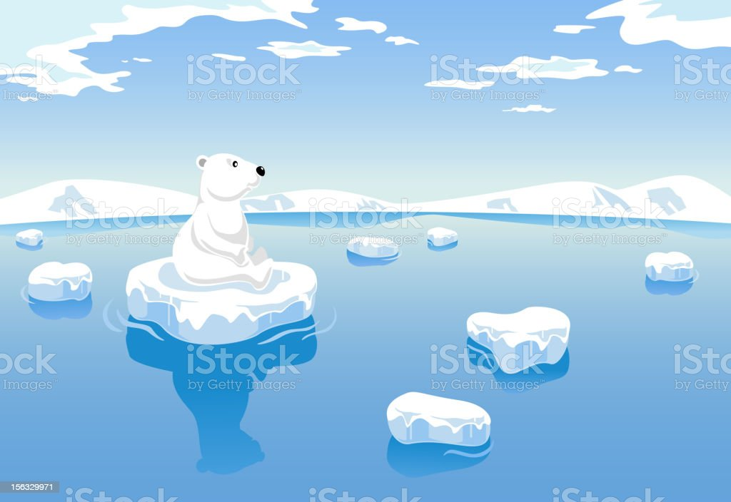 Polar Bear Global Warming royalty-free stock vector art