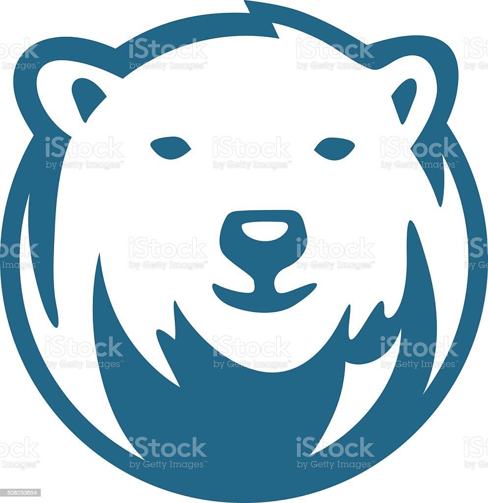 polar bear half circle vector art illustration