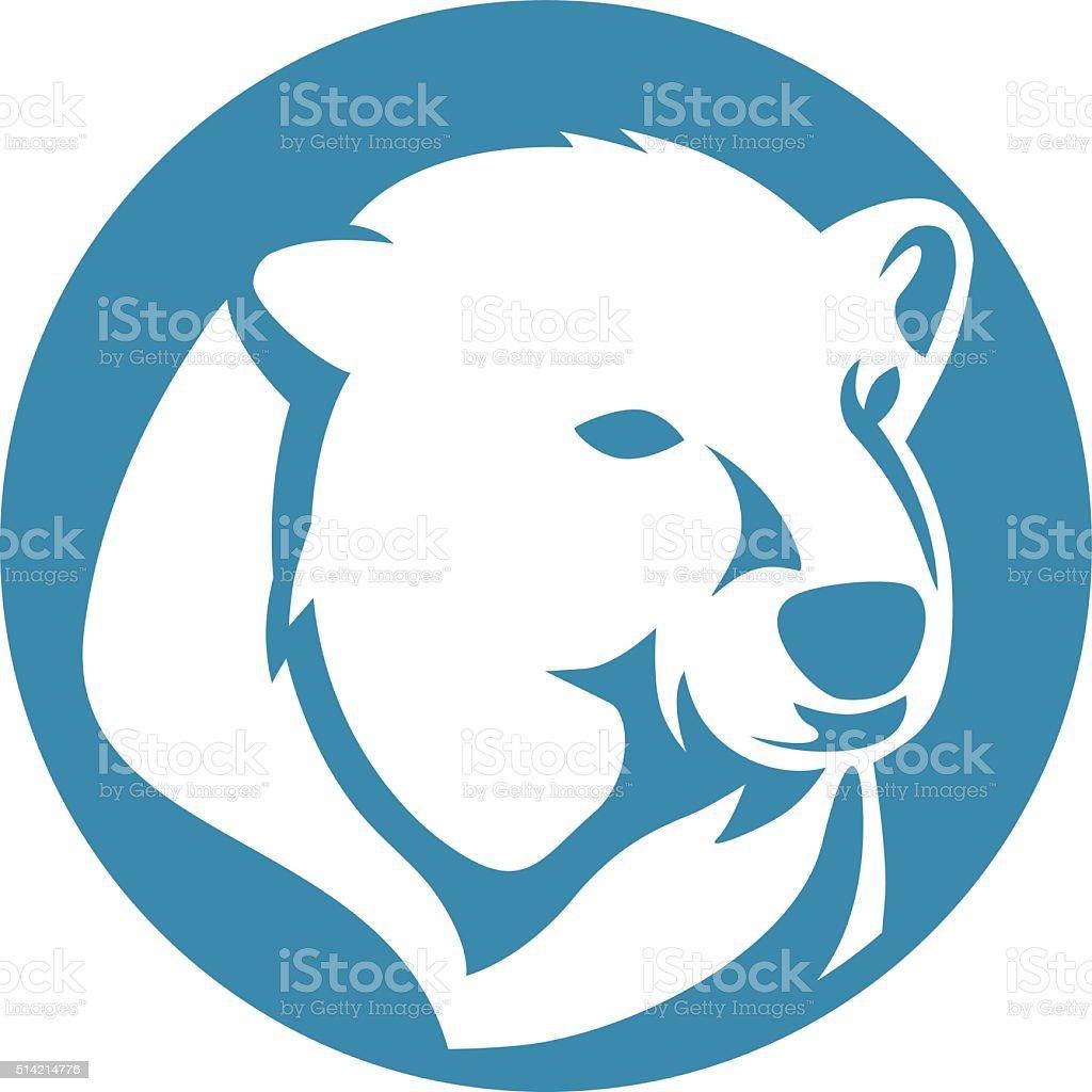 polar bear head abstract circle vector art illustration