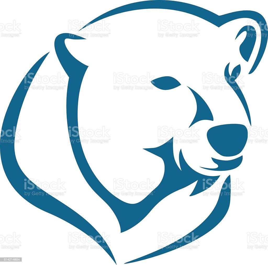 polar bear head abstract vector art illustration
