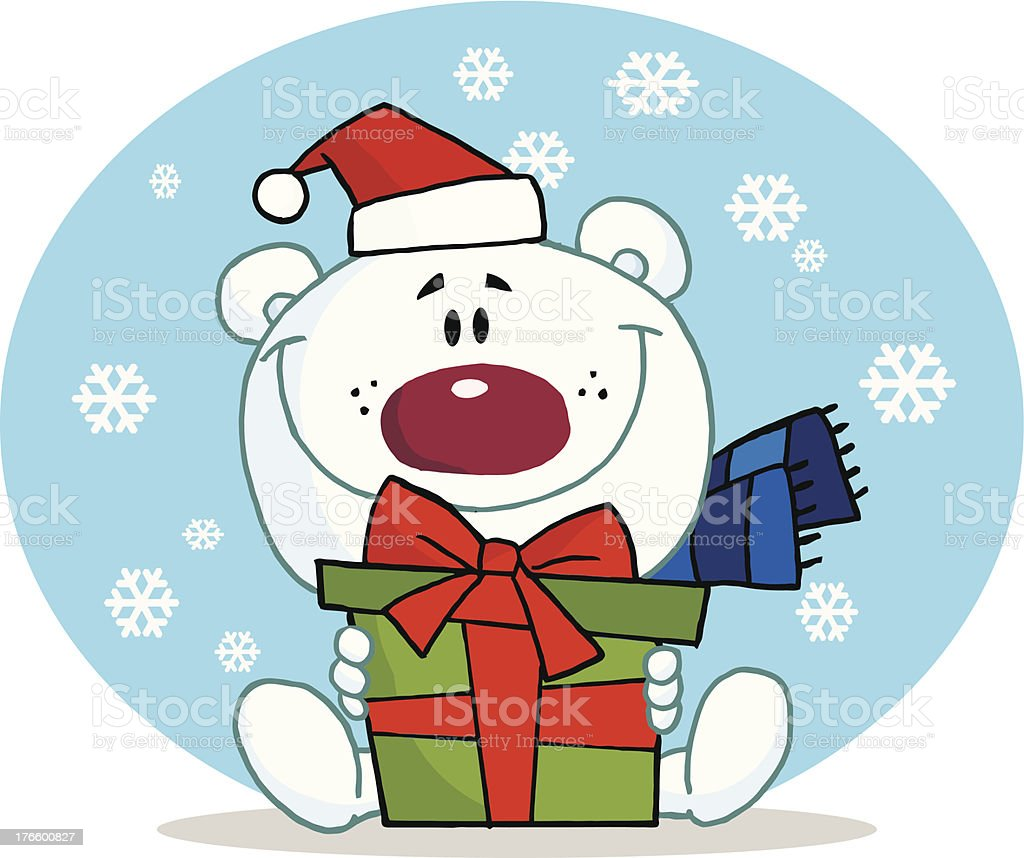 Polar Bear Holding A Gift With Background royalty-free stock vector art