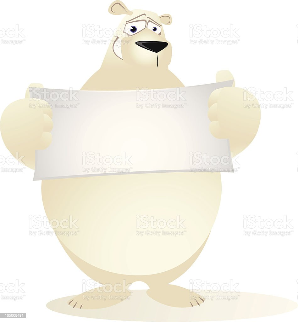 Polar Bear holding a small blank banner vector art illustration