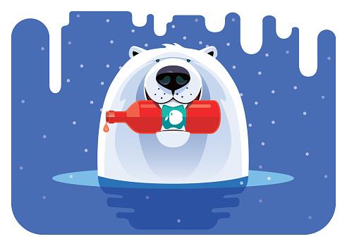 vector illustration of polar bear holding apple juice bottle