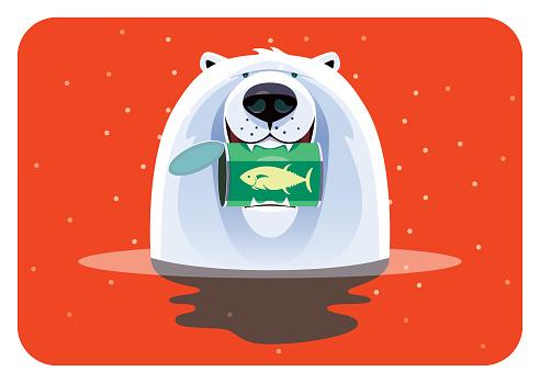 polar bear holding can of tuna