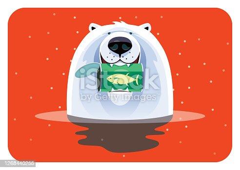 istock polar bear holding can of tuna 1268440255
