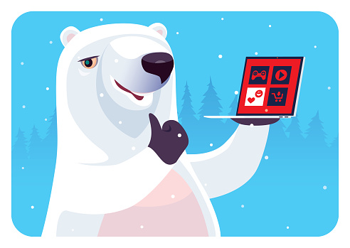 polar bear holding laptop and gesturing thumbs up