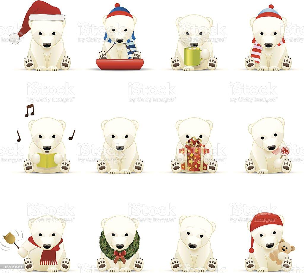 Polar Bear Icons vector art illustration