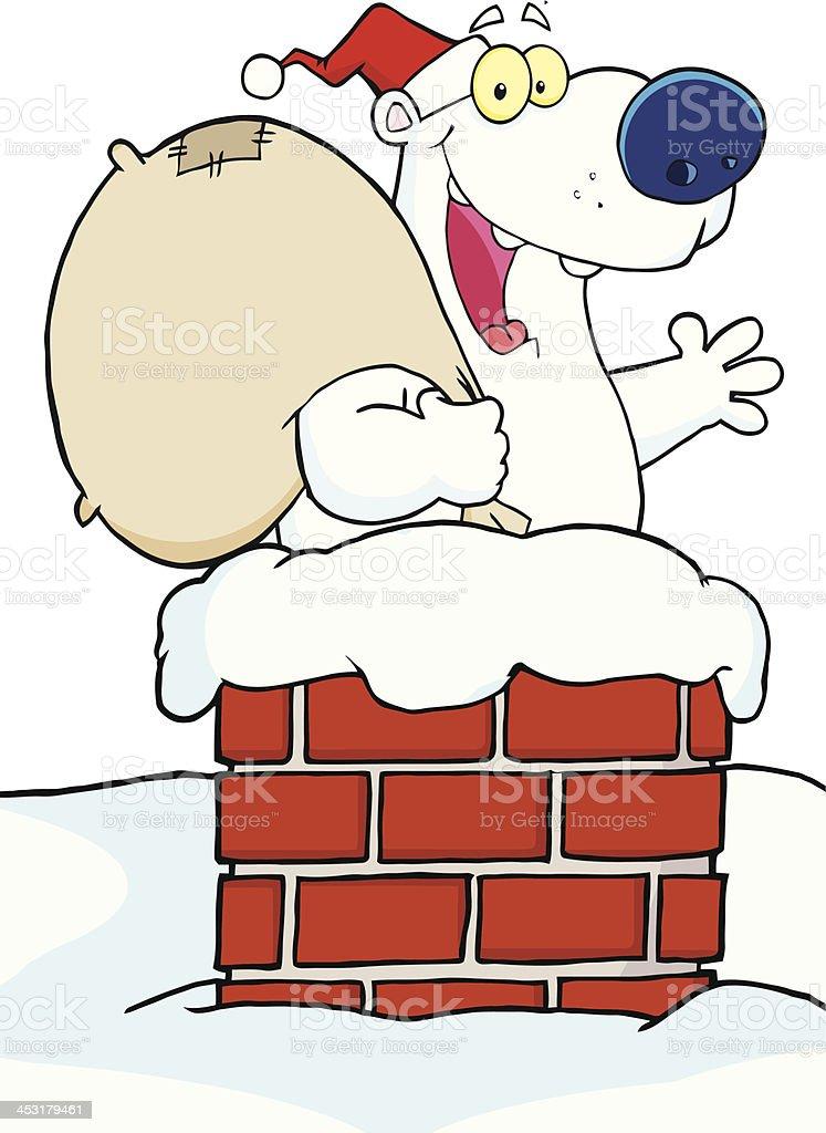 Polar Bear In Chimney royalty-free stock vector art
