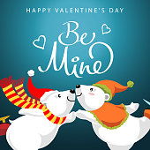 Two polar bears lover dancing and ice skating to celebrate the Valentine's Day