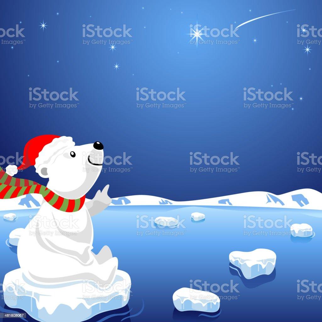 Polar Bear Looking to Star vector art illustration