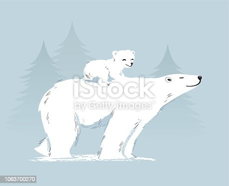 Polar bear mother and cub on her back. Vector illustration