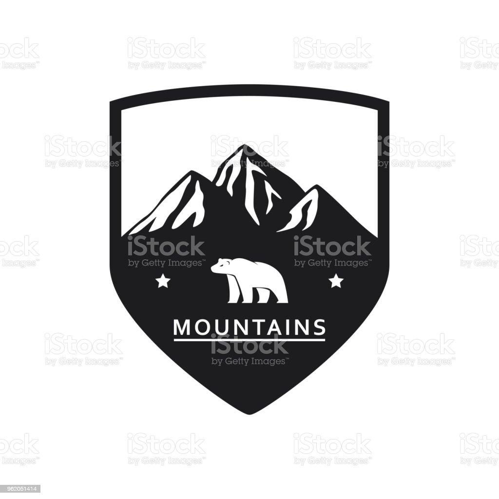 Icono de la montaña del oso polar - ilustración de arte vectorial