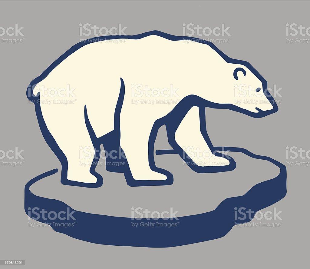 Polar Bear on a Chunk of Ice vector art illustration