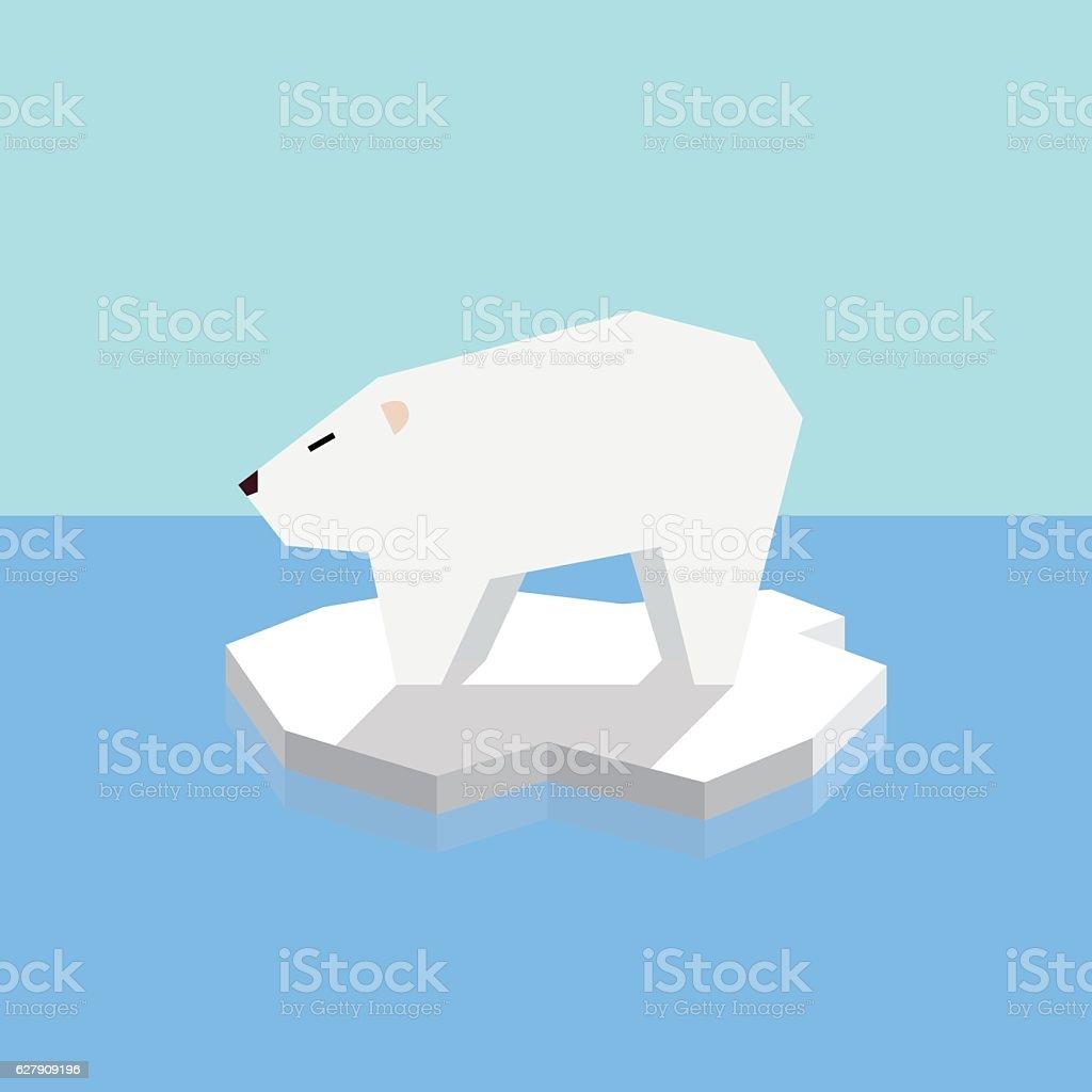 Polar bear on an ice floe vector art illustration
