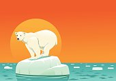 Polar Bear on Ice Floe - Global Warming with Copyspace