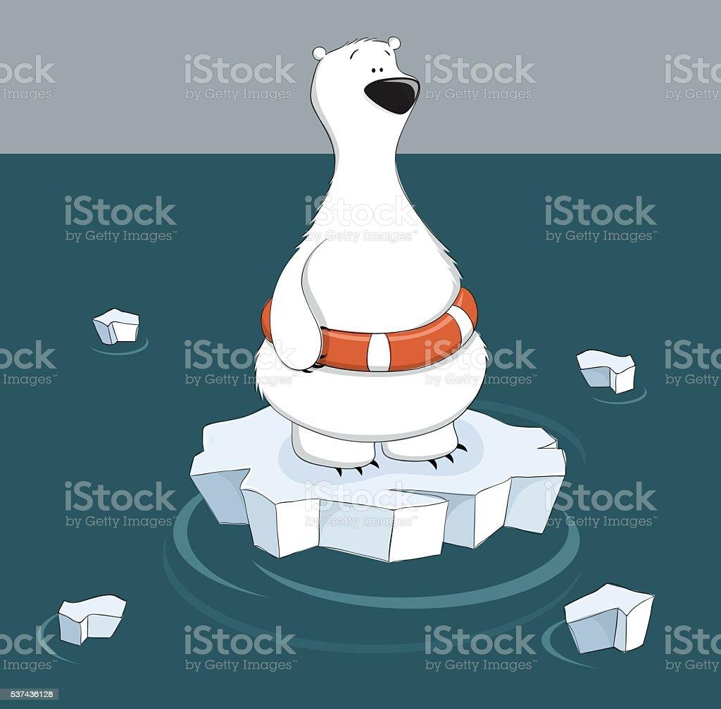 Polar bear on ice floe vector art illustration