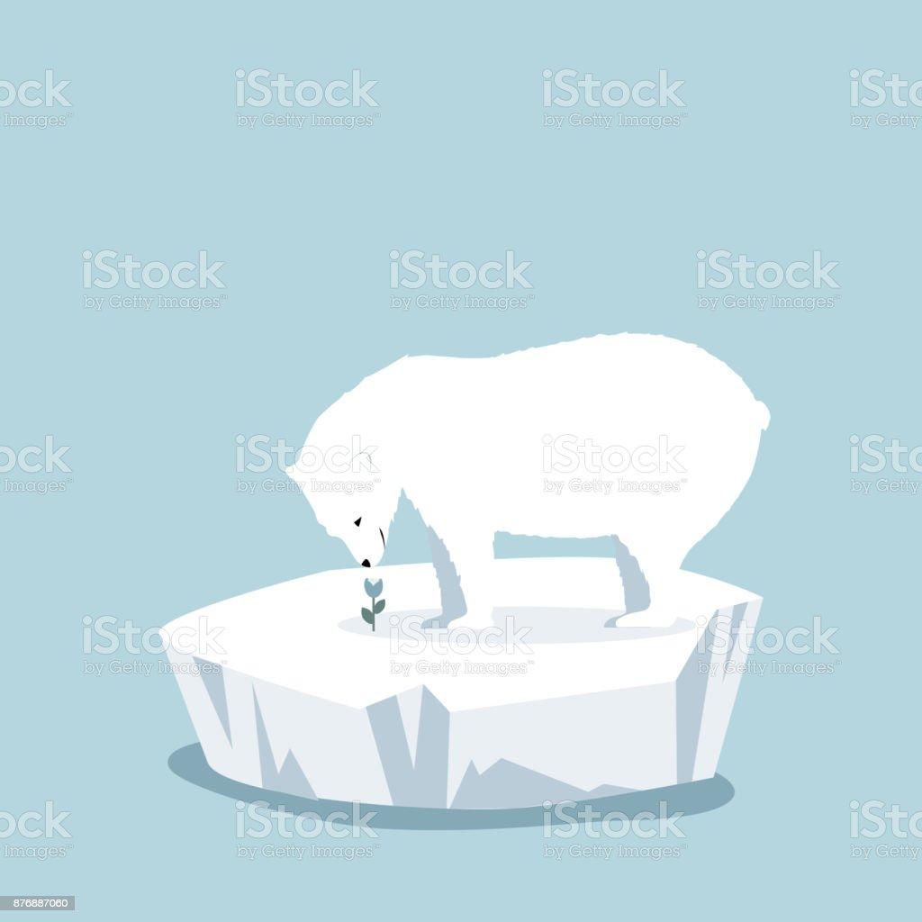 Kutup Ayısı çiçek Ile Yüzen Buz Kütlesi Buz üzerinde Stok Vektör