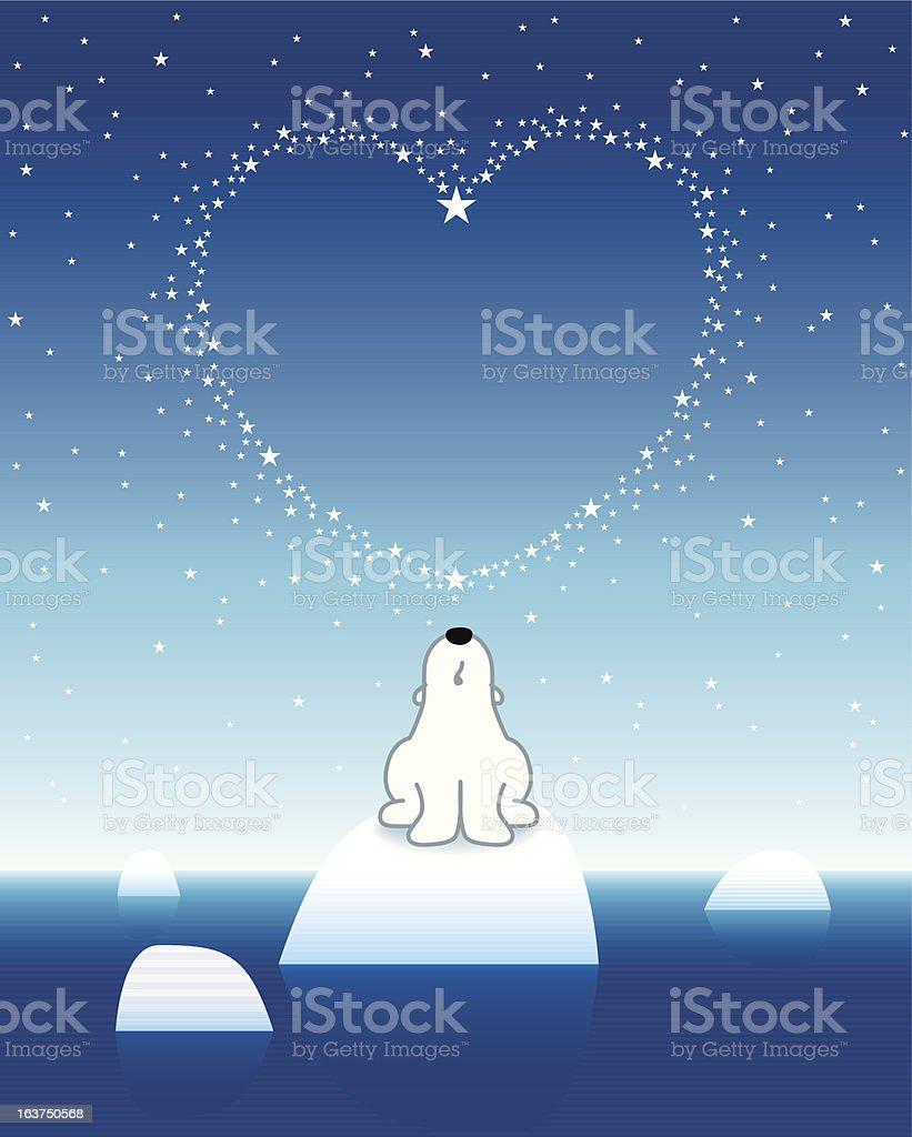 Polar Bear on Iceberg looking straight up to Star Heart royalty-free stock vector art