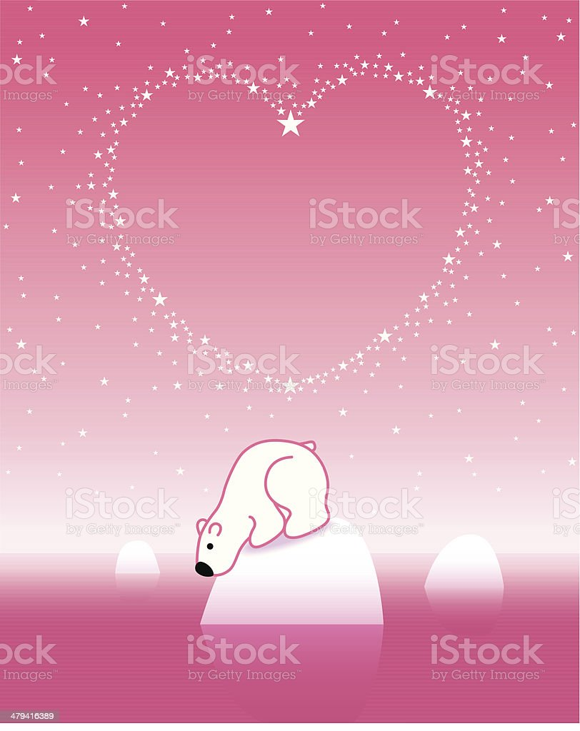 Polar Bear on Iceberg with Star Heart_Pink_3 royalty-free polar bear on iceberg with star heartpink3 stock vector art & more images of arctic