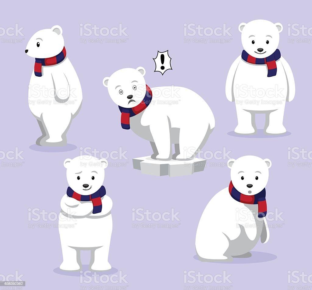 Polar Bear Poses Cartoon Vector Illustration vector art illustration