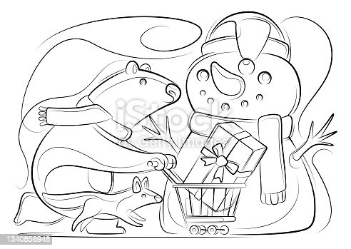 istock polar bear pushing shopping cart with wolf lines drawing 1340856948