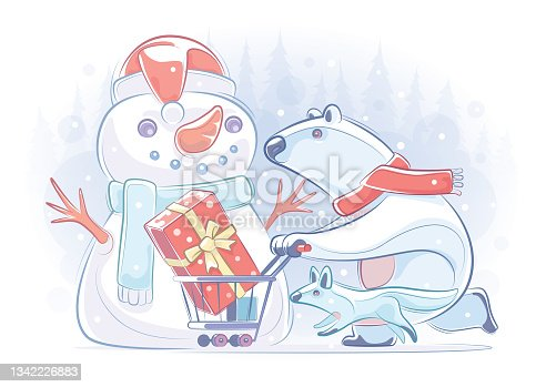 istock polar bear pushing shopping cart with wolf with snowman 1342226883