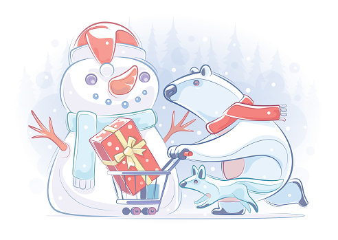 vector illustration of polar bear pushing shopping cart and running with wolf