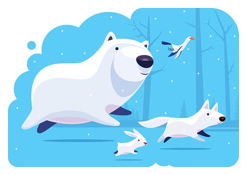 polar bear running with friends