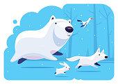 vector illustration of polar bear running with friends