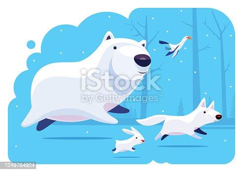 istock polar bear running with friends 1249764924