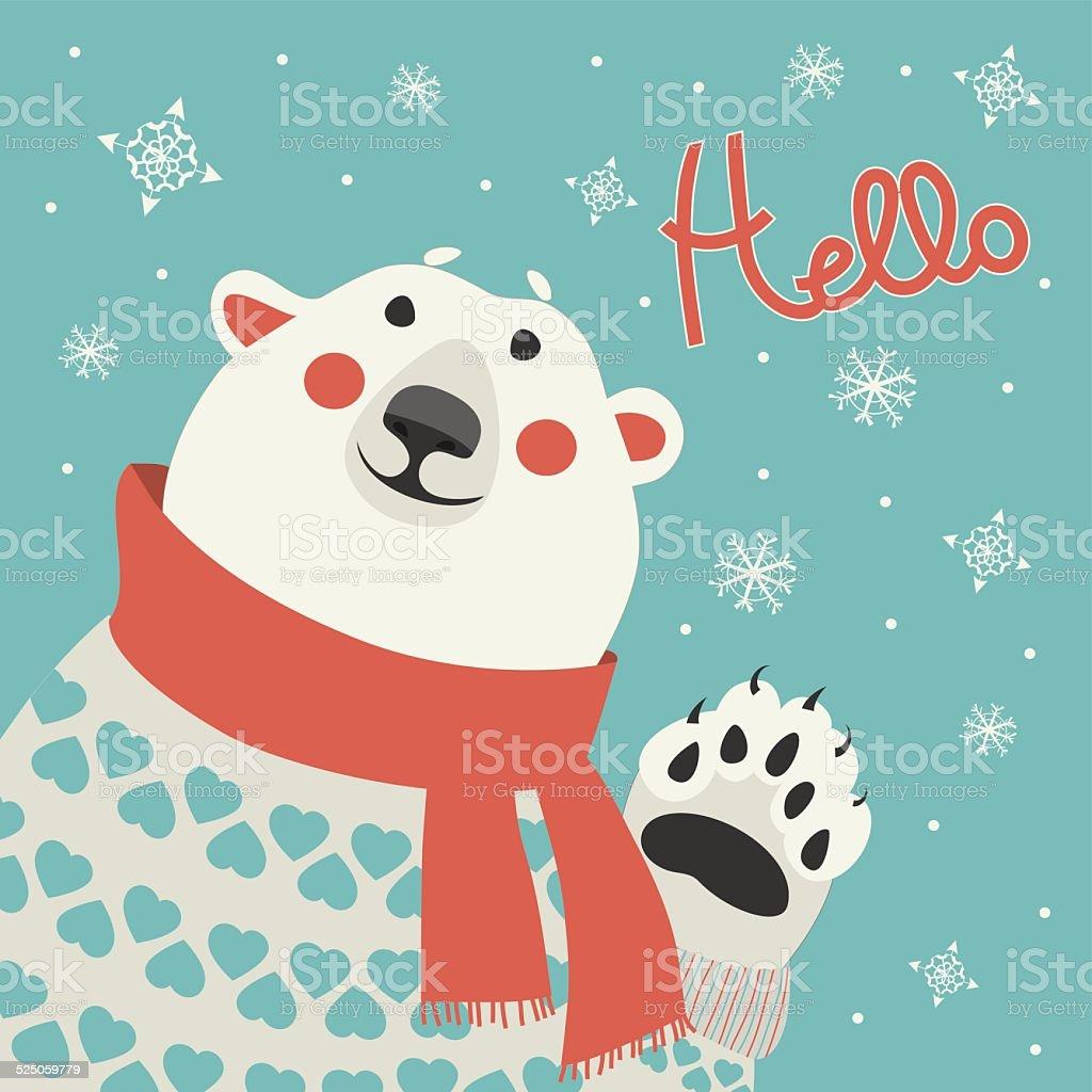 Polar bear says hello vector art illustration