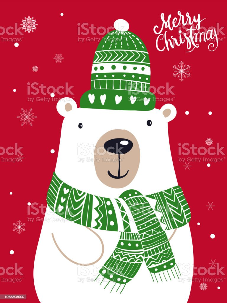 Christmas Festival Cartoon Images.Polar Bear Scarf Cartoon With Christmas Festival And Snow Winter Vector Stock Illustration Download Image Now