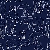 istock Polar bear. Seamless vector pattern 1204892829