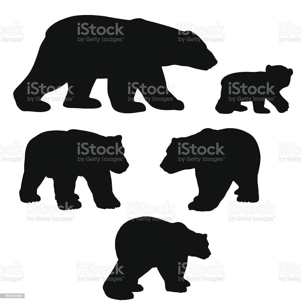 Polar bear silhouette collection with cub vector art illustration