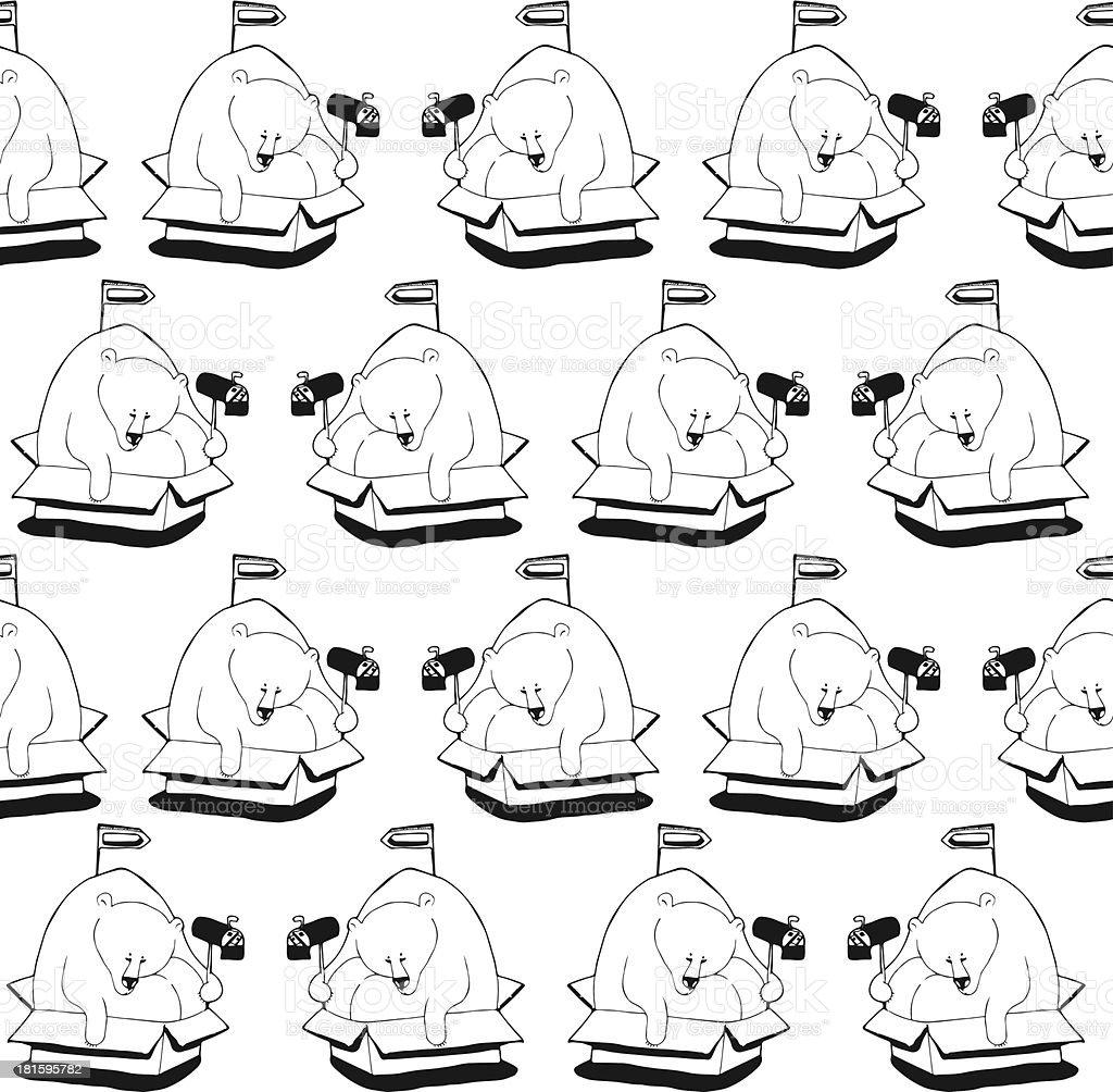 Polar bear sitting in a box. Pattern royalty-free stock vector art