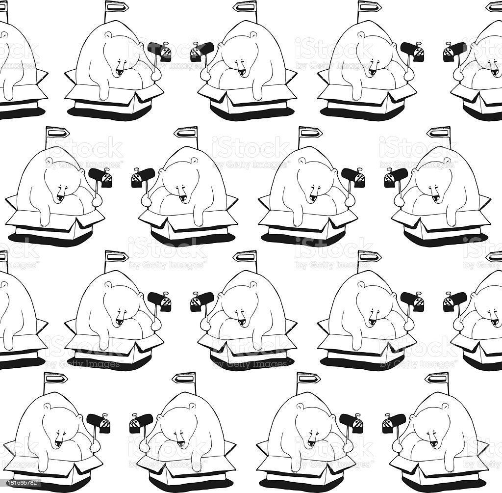 Polar bear sitting in a box. Pattern vector art illustration