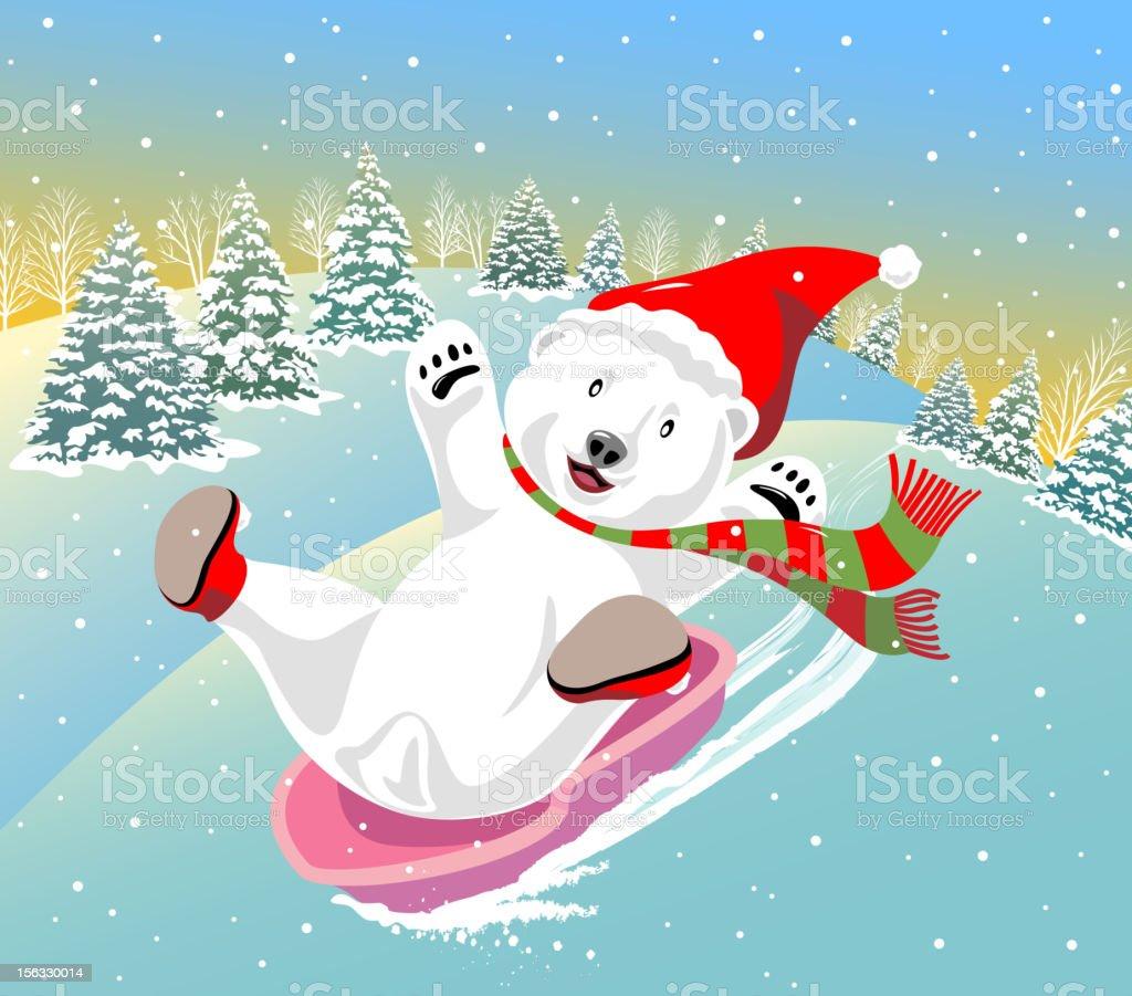 Polar Bear Sledding vector art illustration