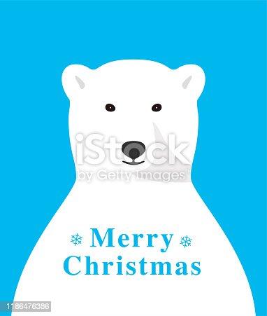Polar bear smiling and celebrating Christmas