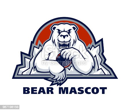 Vector sport emblem with white polar bear mascot holding hockey puck