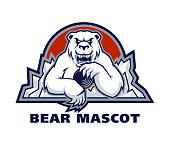Vector sport emblem with white polar bear mascot holding hockey puck