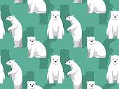 Polar Bear Standing Cute Cartoon Background Seamless Wallpaper