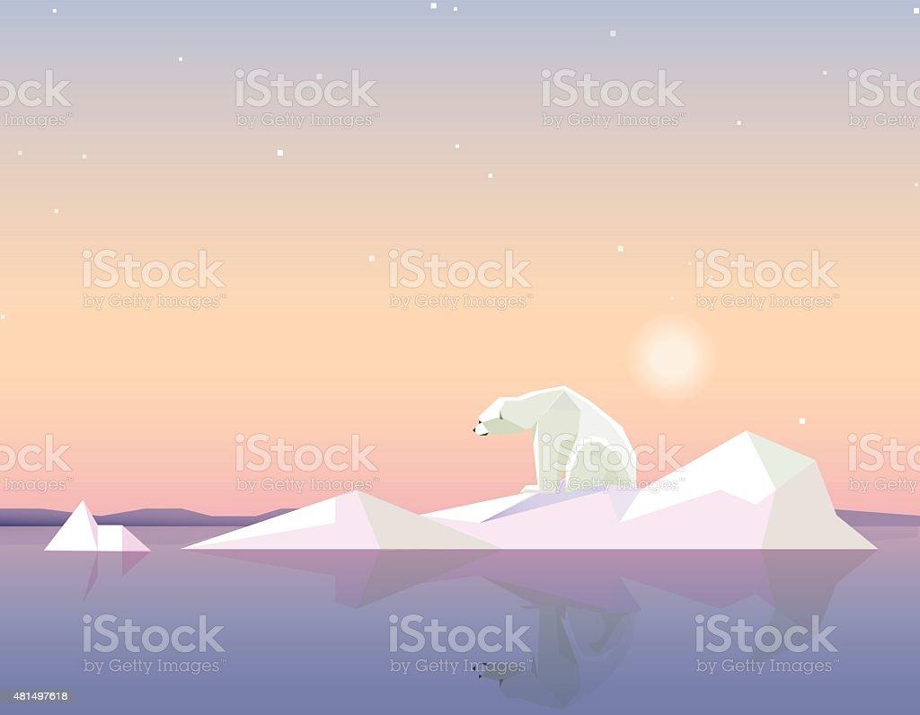 polar bear standing on the melting iceberg formation on sunset vector art illustration