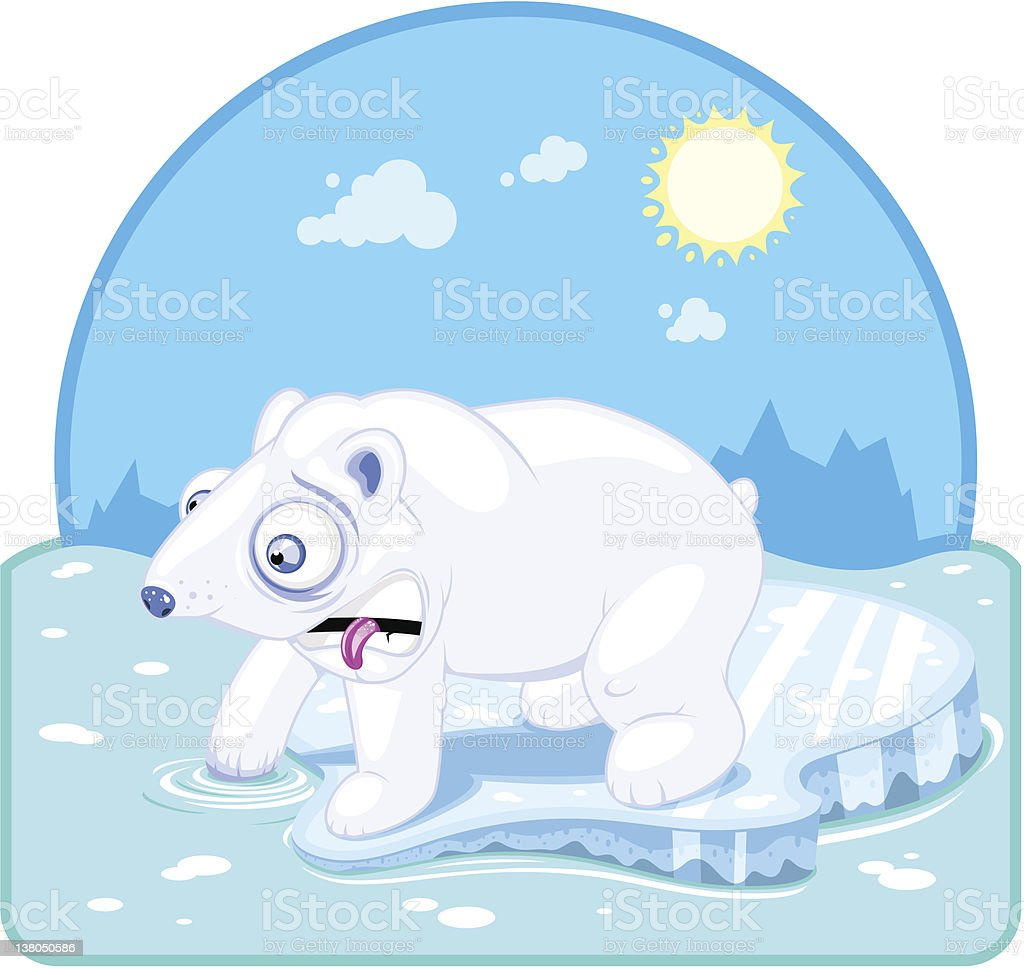 Polar bear sticks his hand in icy water (vector) vector art illustration