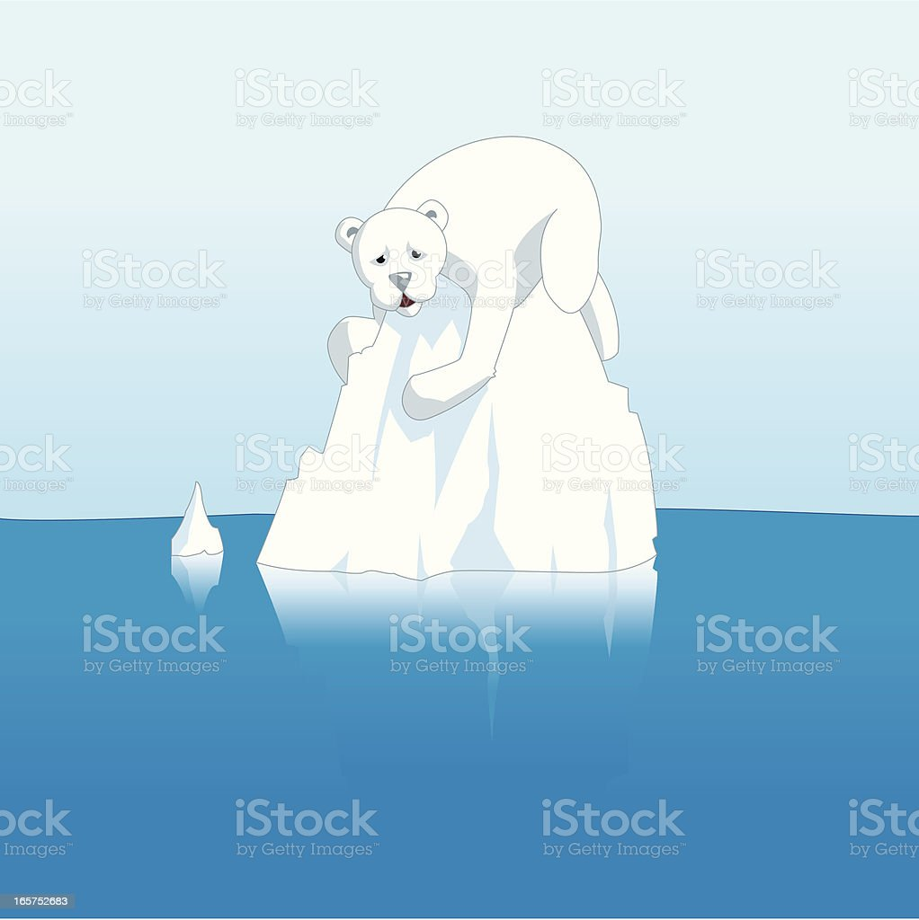 Polar Bear Stranded on an Iceberg Because of Global Warming royalty-free stock vector art