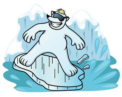 Polar Bear Surfing with Ice Shelf