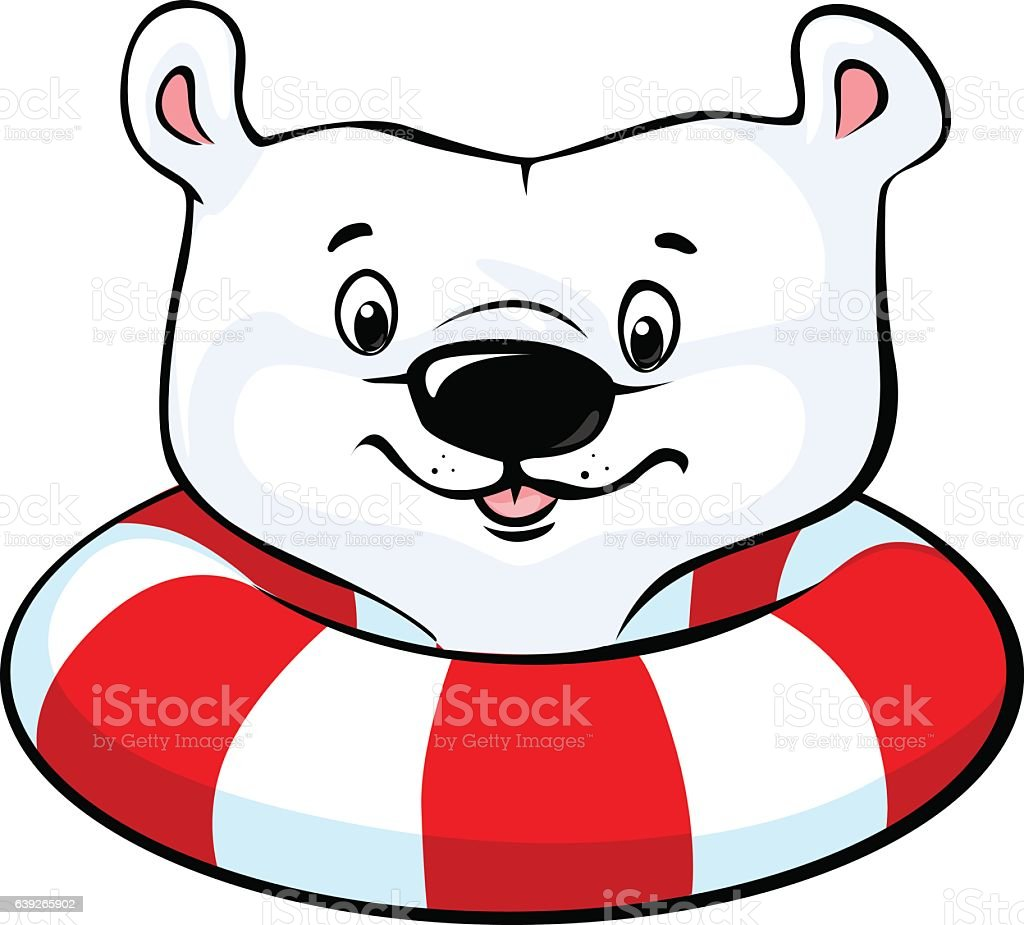 Polar Bear swim in inflatable ring - vector vector art illustration