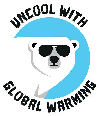 A polar bear, uncool with global warming flat icon vector stock illustration